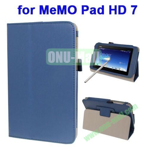 Wrinkly Texture Leather Case for ASUS MeMO Pad HD 7 ME173X with Holder & Touch Pen (Blue)