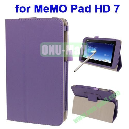 Wrinkly Texture Leather Case for ASUS MeMO Pad HD 7 ME173X with Holder & Touch Pen (Purple)