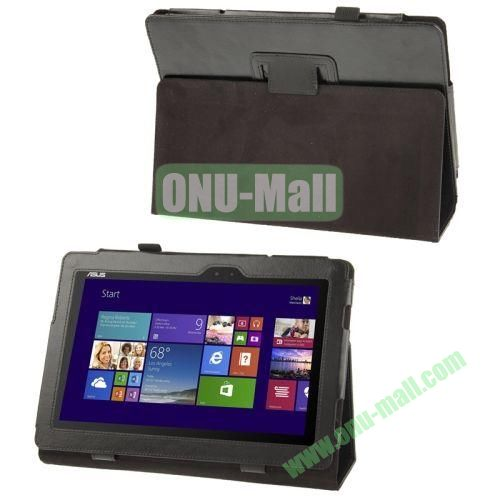 Crazy Horse Texture Leather Case for Asus T100 with Holder (Black)
