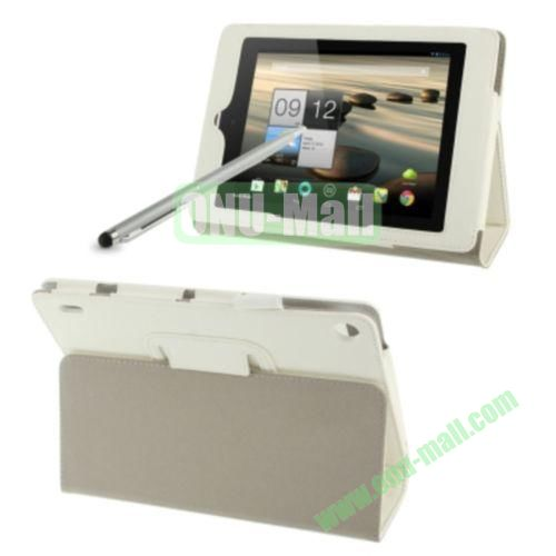Simple Color Leather Case for Acer Iconia A1-810 with Holder & Touch Pen (White)