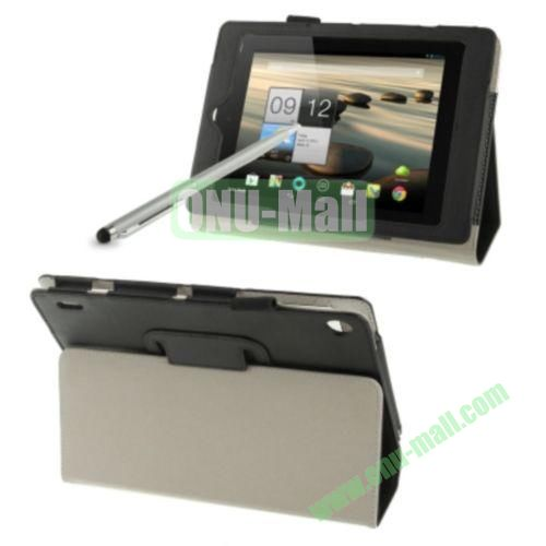 Simple Color Leather Case for Acer Iconia A1-810 with Holder & Touch Pen (Black)