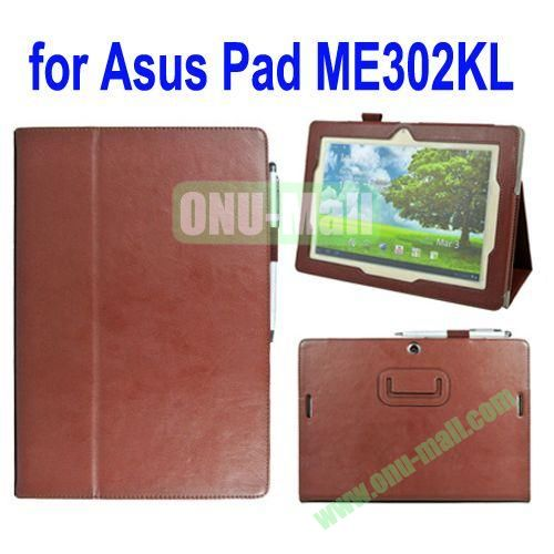 Crazy Horse Texture Leather Case for Asus MeMo Pad FHD 10ME302KL with Card Slots and Holder & Belt Armband (Brown)