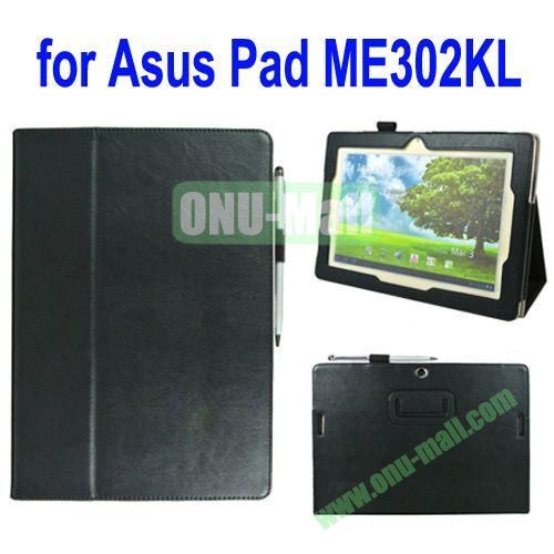 Crazy Horse Texture Leather Case for Asus MeMo Pad FHD 10ME302KL with Card Slots and Holder & Belt Armband (Black)