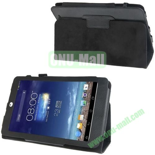 Litchi Texture Flip Leather Case for Asus MeMO Pad 8  ME180A with Holder (Black)