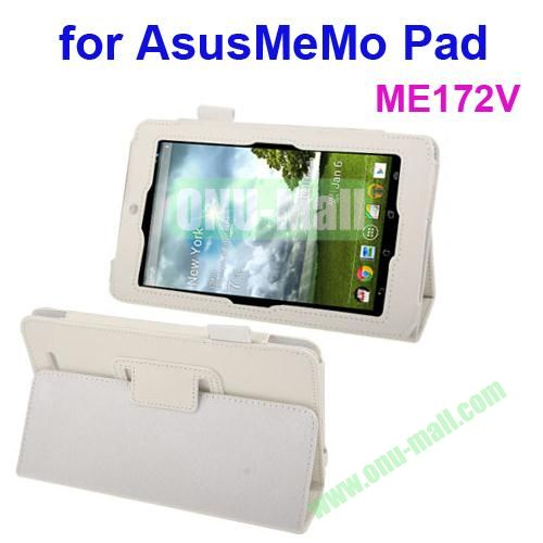 Lichi Texture Leather Case for ASUS MeMo Pad ME172V with Holder (White)
