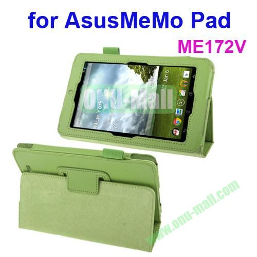 Lichi Texture Leather Case for ASUS MeMo Pad ME172V with Holder (Green)
