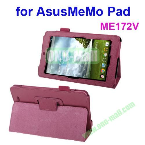 Lichi Texture Leather Case for ASUS MeMo Pad ME172V with Holder (Magenta)