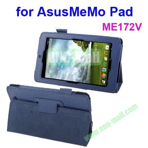 Lichi Texture Leather Case for ASUS MeMo Pad ME172V with Holder (Blue)