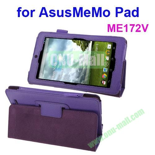 Lichi Texture Leather Case for ASUS MeMo Pad ME172V with Holder (Purple)