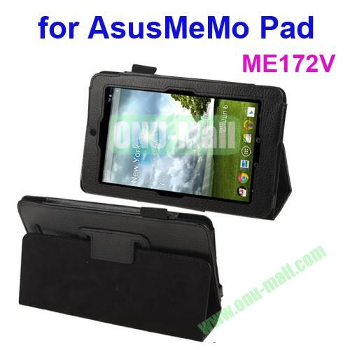 Lichi Texture Leather Case for ASUS MeMo Pad ME172V with Holder (Black)