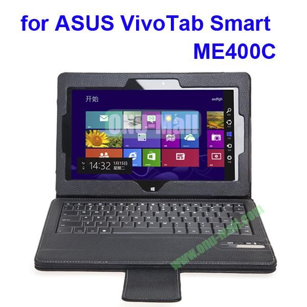 Bluetooth 3.0 Keyboard Leather Case for ASUS VivoTab Smart ME400C with Holder