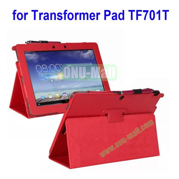 Litchi Texture Leather Case for Asus Transformer Pad TF701T with Holder (Red)