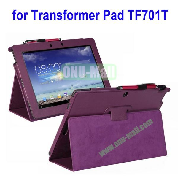Litchi Texture Leather Case for Asus Transformer Pad TF701T with Holder (Purple)