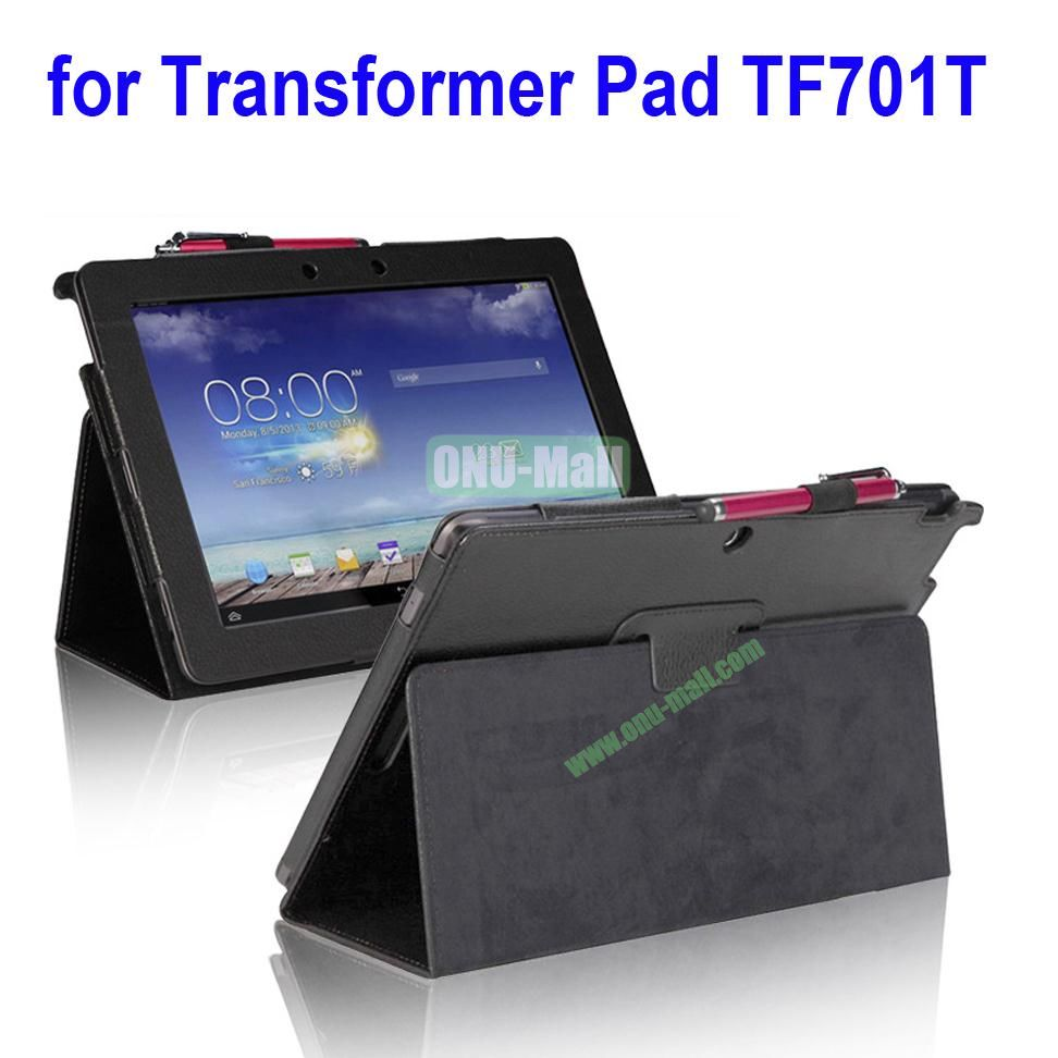 Litchi Texture Leather Case for Asus Transformer Pad TF701T with Holder (Black)