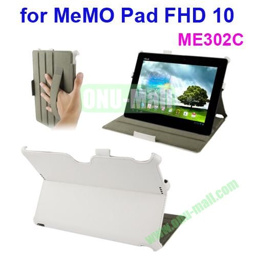 Thermal Styling Texture Leather Cover for ASUS MeMO Pad FHD 10 ME302C with Elastic Hand Strap (White)