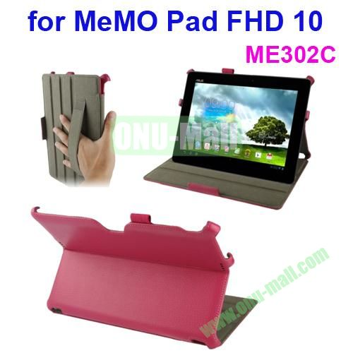 Thermal Styling Texture Leather Cover for ASUS MeMO Pad FHD 10 ME302C with Elastic Hand Strap (Magenta)