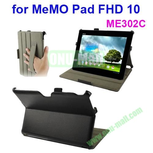 Thermal Styling Texture Leather Cover for ASUS MeMO Pad FHD 10 ME302C with Elastic Hand Strap (Black)