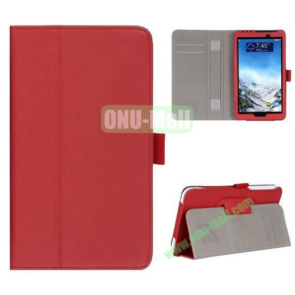 New Arrival Flip Stand Leather Case for ASUS Fonepad 7  FE7010CG  FE170 with Card Slots and Armband Belt (Red)