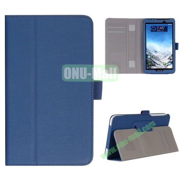 New Arrival Flip Stand Leather Case for ASUS Fonepad 7  FE7010CG  FE170 with Card Slots and Armband Belt (Blue)