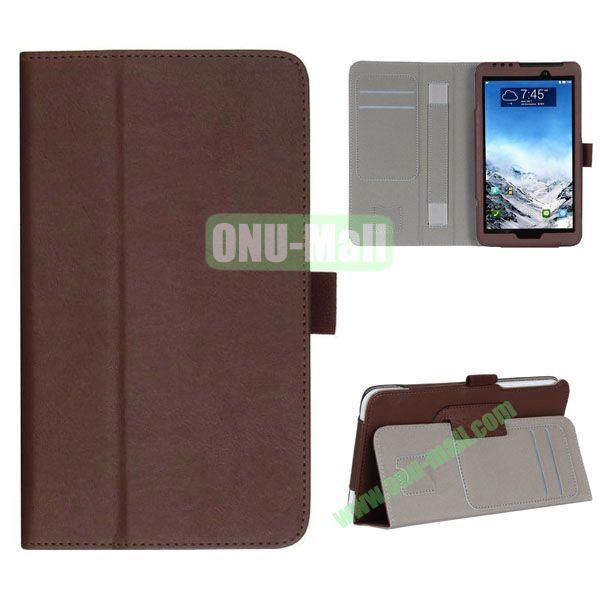 New Arrival Flip Stand Leather Case for ASUS Fonepad 7  FE7010CG  FE170 with Card Slots and Armband Belt (Brown)