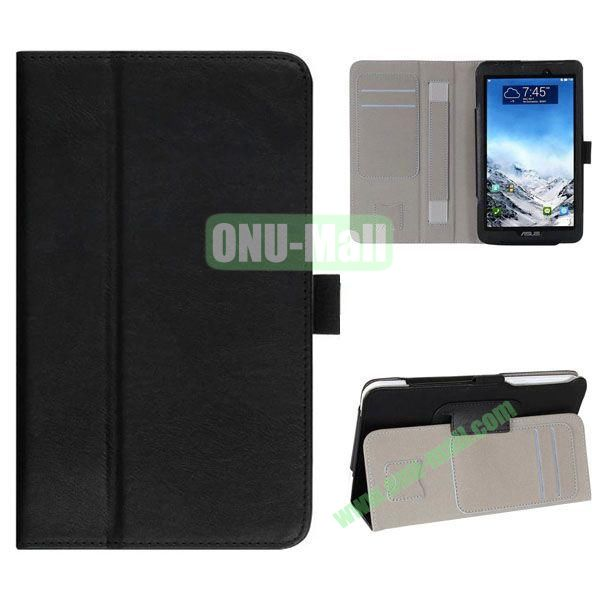 New Arrival Flip Stand Leather Case for ASUS Fonepad 7  FE7010CG  FE170 with Card Slots and Armband Belt (Black)