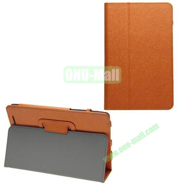 Silk Texture Leather Case for Asus MeMO Pad 8 (ME180A) with Holder (Orange)