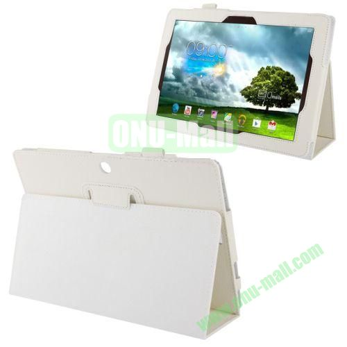 Wholesale Litchi Texture Leather Case for Asus Memo Pad FHD 10ME302C with Holder (White)