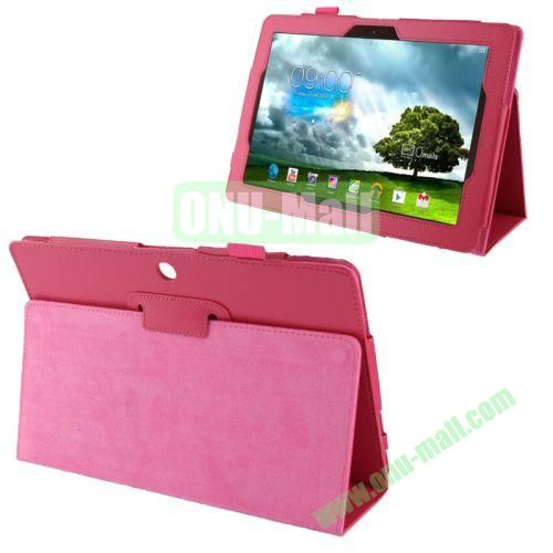 Wholesale Litchi Texture Leather Case for Asus Memo Pad FHD 10ME302C with Holder (Rose)