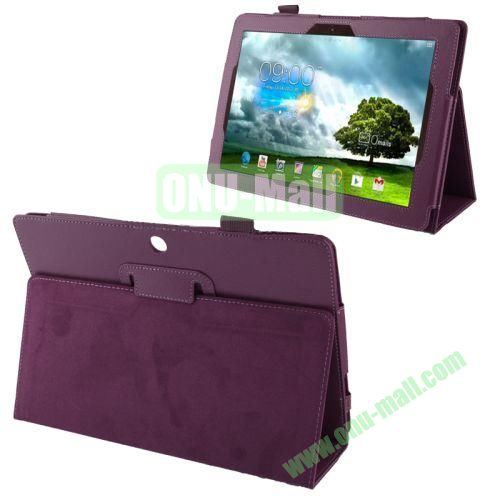 Wholesale Litchi Texture Leather Case for Asus Memo Pad FHD 10ME302C with Holder (Purple)