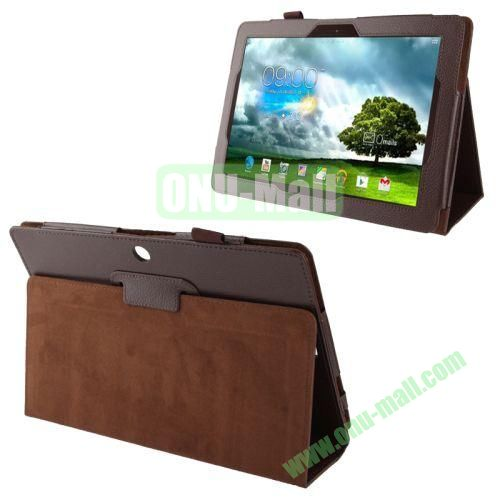 Wholesale Litchi Texture Leather Case for Asus Memo Pad FHD 10ME302C with Holder (Brown)
