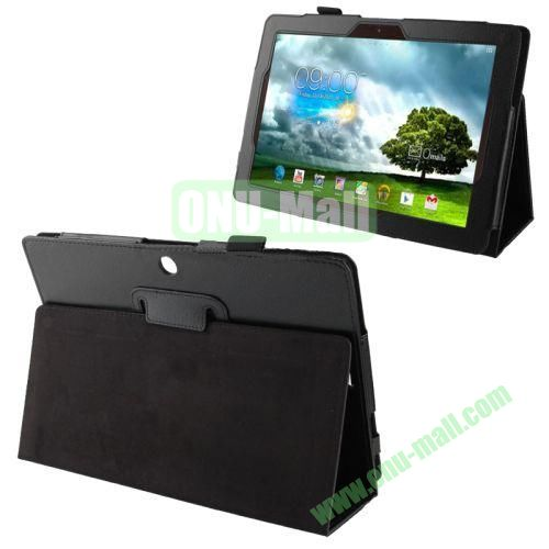Wholesale Litchi Texture Leather Case for Asus Memo Pad FHD 10ME302C with Holder (Black)