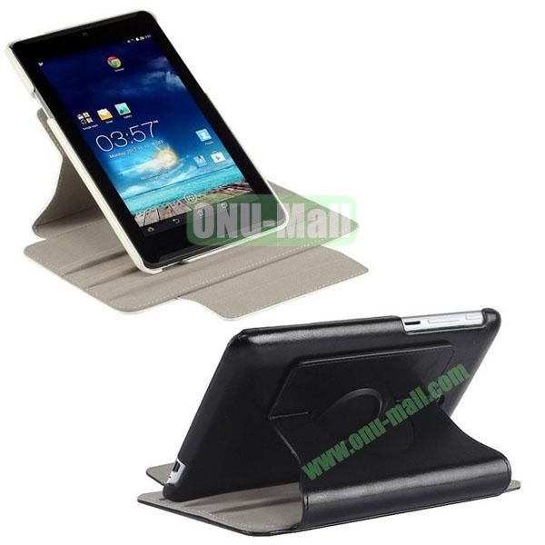 360 Degree Rotation Crazy Horse Texture Flip Leather Case with Holder for Asus Fonepad 7  ME372CG (Black)