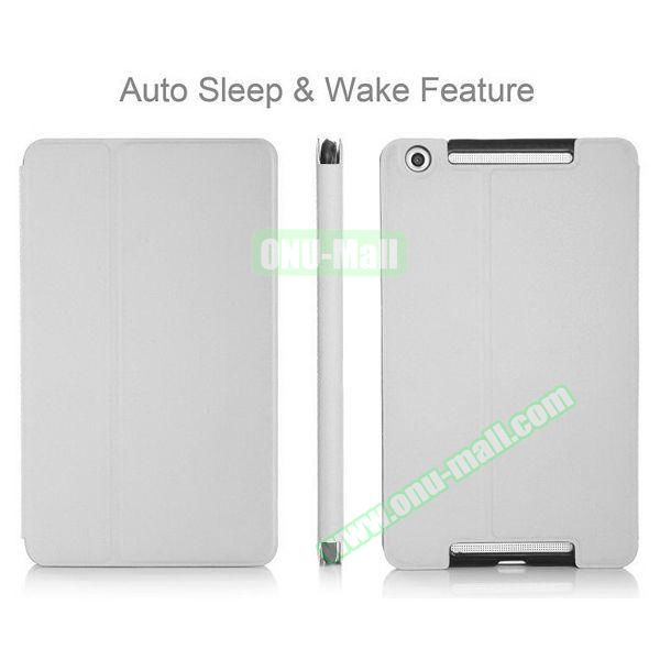 High-end Pattern PU Leather Flip Cover for Asus MeMo Pad 8 ME581C with Magetic Closure and Gears (White)