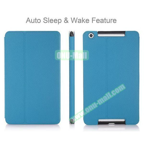 High-end Pattern PU Leather Flip Cover for Asus MeMo Pad 8 ME581C with Magetic Closure and Gears (Blue)
