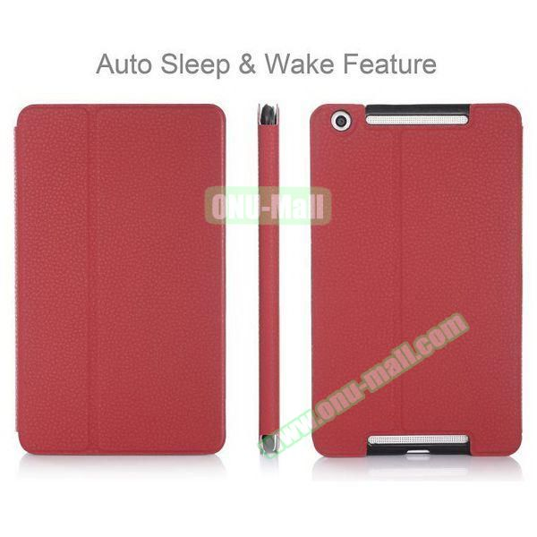 High-end Pattern PU Leather Flip Cover for Asus MeMo Pad 8 ME581C with Magetic Closure and Gears (Red)