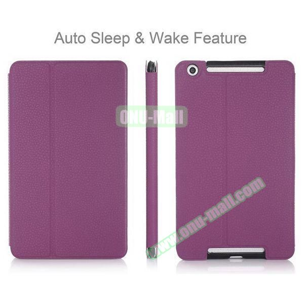 High-end Pattern PU Leather Flip Cover for Asus MeMo Pad 8 ME581C with Magetic Closure and Gears (Purple)