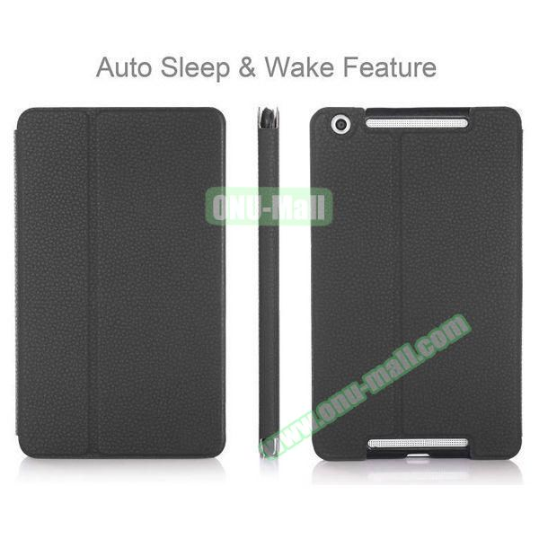 High-end Pattern PU Leather Flip Cover for Asus MeMo Pad 8 ME581C with Magetic Closure and Gears (Black)