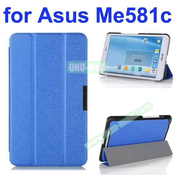 3 Folding Ultra Thin Flip Leather Case for Asus MeMO Pad 8 ME581C (Blue)