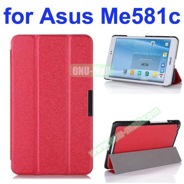 3 Folding Ultra Thin Flip Leather Case for Asus MeMO Pad 8 ME581C (Red)