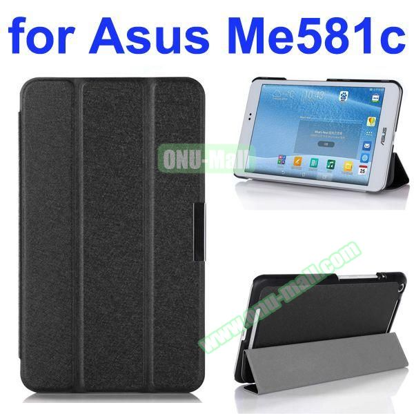 3 Folding Ultra Thin Flip Leather Case for Asus MeMO Pad 8 ME581C (Black)