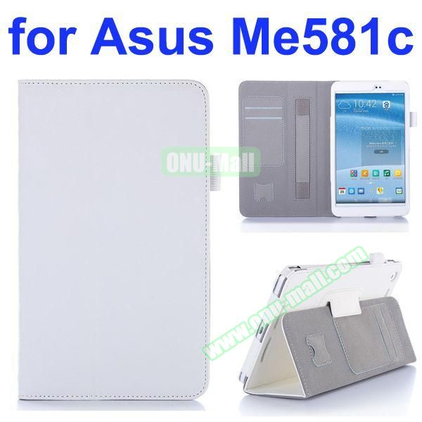 Flip Leather Case for Asus MeMO Pad 8 ME581C with Card Slots and Holder (White)