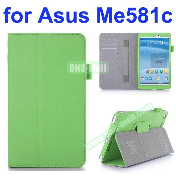 Flip Leather Case for Asus MeMO Pad 8 ME581C with Card Slots and Holder (Green)