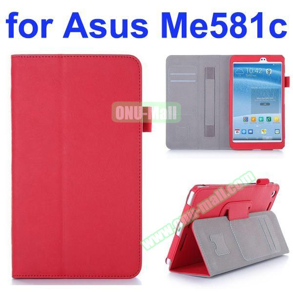Flip Leather Case for Asus MeMO Pad 8 ME581C with Card Slots and Holder (Red)