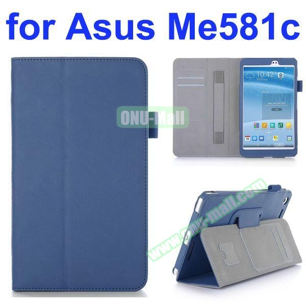 Flip Leather Case for Asus MeMO Pad 8 ME581C with Card Slots and Holder (Blue)