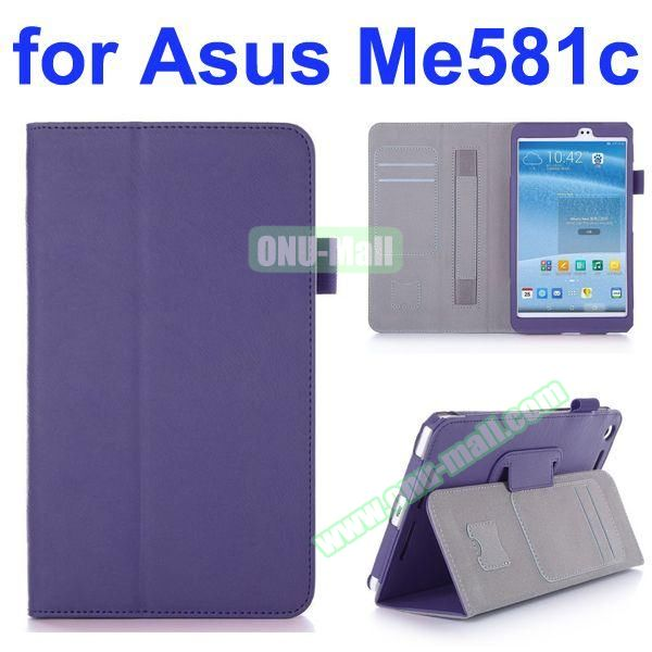 Flip Leather Case for Asus MeMO Pad 8 ME581C with Card Slots and Holder (Purple)