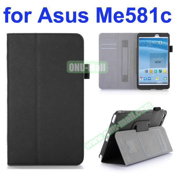 Flip Leather Case for Asus MeMO Pad 8 ME581C with Card Slots and Holder (Black)