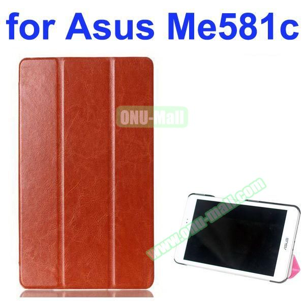 Crazy Horse Texture 3 Folding Pattern Flip Leather Case for Asus MeMO Pad 8 ME581C (Brown)