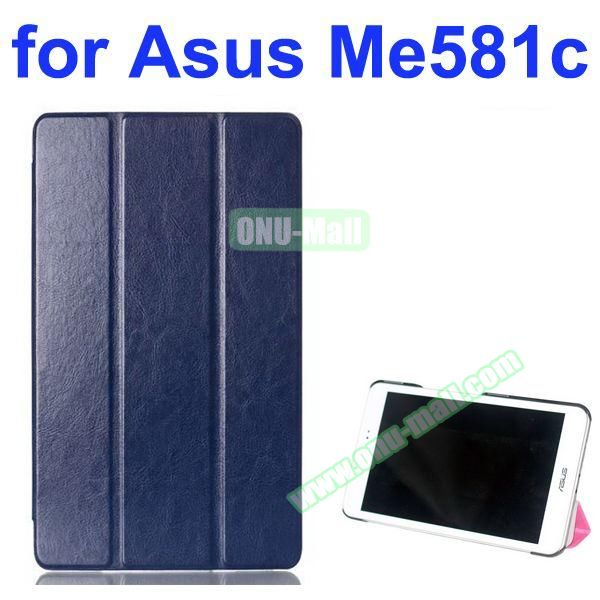 Crazy Horse Texture 3 Folding Pattern Flip Leather Case for Asus MeMO Pad 8 ME581C (Dark Blue)