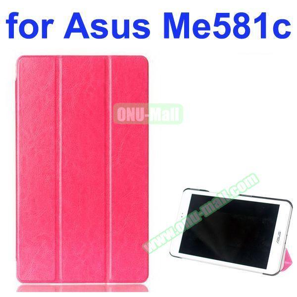Crazy Horse Texture 3 Folding Pattern Flip Leather Case for Asus MeMO Pad 8 ME581C (Rose)
