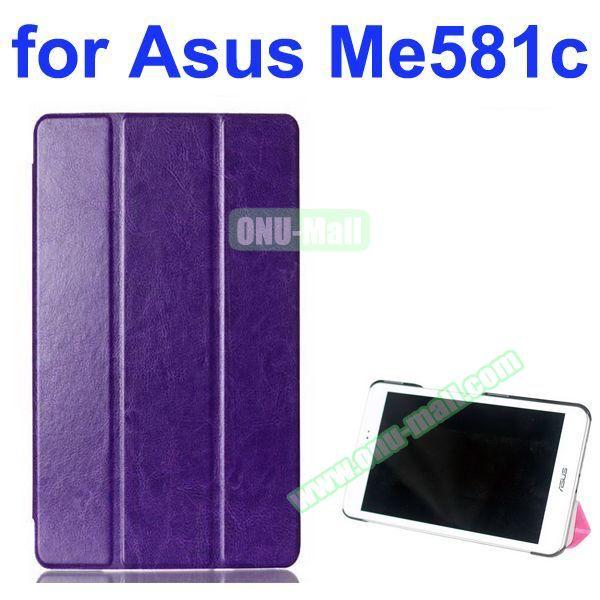 Crazy Horse Texture 3 Folding Pattern Flip Leather Case for Asus MeMO Pad 8 ME581C (Purple)